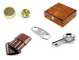 burl wood cedar lined 30 cigar humidor ashtray case cutter starter kit gift set