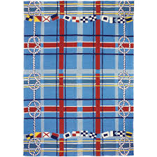 homefires nautical plaid blue 8 ft x 10 ft indoor outdoor area rug