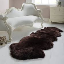 unique dark sheepskin rug with elegant white nightstand for family room design