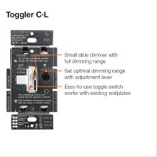 lutron toggler c l dimmer switch for dimmable led halogen and 614gf7frfkl