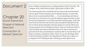 historical thinking skills ppt  chapter 20 social darwinism