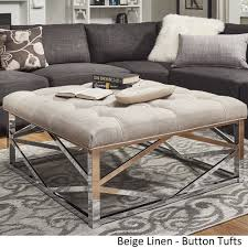 Solene Geometric Base Square Ottoman Coffee Table - Chrome by Inspire Q