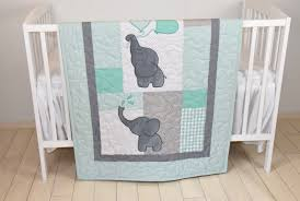 baby quilt elephant blanket mint green gray crib bedding safari