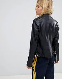 women s clothing black warehouse biker jacket in faux leather in black fully lined wqsehlx 1262876