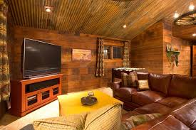 corrugated metal ceiling family room rustic with plaid pillow traditional wallpaper