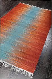 rugsville turkish modern orange blue flatweave wool rug ( x )