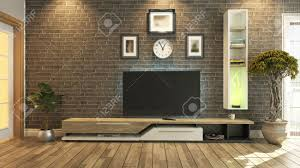 Tv Room Tv Room Salon Or Living Room With Brick Wall Plant And Tv Design