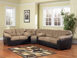 cocoa microfiber modern sectional w faux leather base