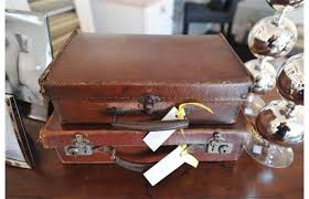 Small Picture Antique leather suitcases Old meets new at Plum Home and Decor in