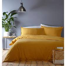 factory home collection basics yellow washed cotton plain dye bedding set dxcovc