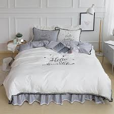 pure white cotton solid color grey brief luxury bedding sets hello words pink queen king duvet cover bedsheet pillow case sets duvet and duvet cover