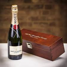 moet chandon chagne in personalised wooden gift box hover to zoom