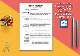 Resume Templates Page Jessica Robinson Magnificent 2 Pages 1 Or Long