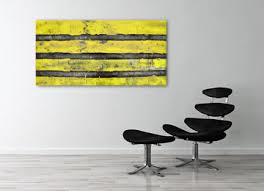 yellow gray and black wall art