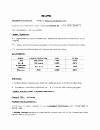 Resume Format For Freshers Mechanical Engineers Pdf Free Download