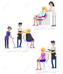 Cut Out Character Template Detailed Character Barber Makes A Hair Washing Cut And Styling