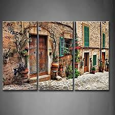 first wall art 3 panel wall art streets of old mediterranean towns flower door windows on mediterranean canvas wall art with amazon first wall art 3 panel wall art streets of old