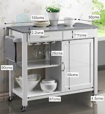 Granite Top Kitchen Trolley Harrogate White Painted Hevea Hardwood Kitchen Trolley Island With