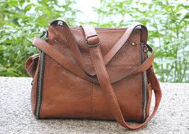 brown large leather purse