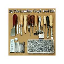 25 pcs leather craft tool kit hand sewing stitching punch carving work groover