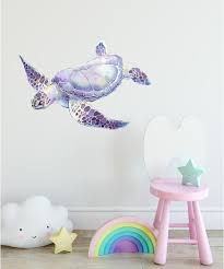 purple sea turtle wall decal ocean wall