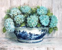 blue white china tureen with gorgeous aqua hydrangeas original painting by gail mccormack