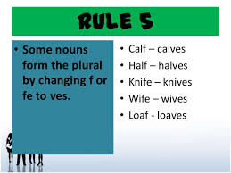 plural form of knife nouns