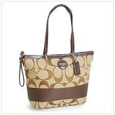 Amazon.com  Coach Signature Stripe Shopper Bag Tote Khaki Mahogany - Coach  17433KHA  Shoes