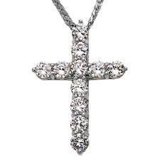 cz elegant extra large cross pendant necklace in 14k white gold