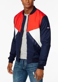 men s colorblocked logo er jacket tommy hilfiger