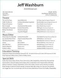 Musical Theater Resume Template New Musical Theatre Resume Template Best Of Musical Theatre Resume New