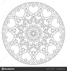Bloemen Mandala Met Hart Kleurplaat Voor Stockvector Ladika888
