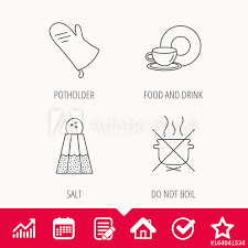 Boil Stock Chart Salt Potholder And Food Drink Icons Do Not Boil Linear