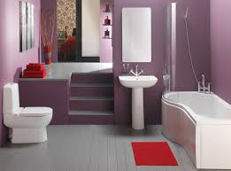 purple bathroom color ideas. Interesting Ideas Small Bathroom Color Ideas With Purple Decor White Bathtub And Toilet Also  Washbasin On Gray Floor P
