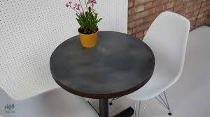 small round zinc bistro table