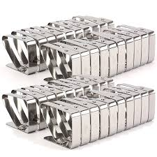 bekith set of 40 adjule stainless steel table cloth clip clamps for home party and picnic