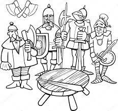 black and white cartoon ilration of legendary knights of the round table for coloring book vector by izakowski