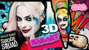 SUICIDE SQUAD. Nail Art 3D / Harley Quinn - YouTube