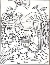 New Miriam And Baby Moses Coloring Pages Nichome