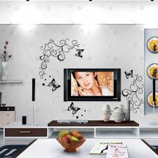 lowest price calssic black butterfly flower wall sticker home