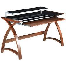 simple wooden veneer walnut work desk black glass shelf in glass and wood desks