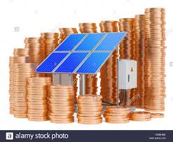 Solar Panel Chart Solar Panels With Growing Chart From Gold Coins Around 3d