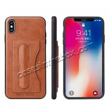 for iphone xs max leather wallet case card holder back stand cover brown