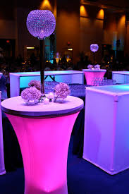 colored lights under cocktail tables