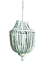 white beaded chandelier wood bead wooden gray aged uk wo