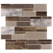 allen roth laser contempo linear mosaic glasetal wall tile common 12