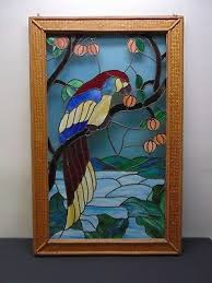 large stained glass framed panel w parrot 48 x 31 free