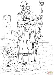St Patrick Driving Snakes Out Of Ireland Coloring Page Free