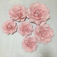 Paper Flower Photo Booth Backdrop 6pcs Baby Pink Giant Paper Flowers 30 50cm For Girls Party Wedding Decor Or Photo Booth Backdrop Or Wedding Backdrops