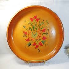 Scandinavian Folk Art Wood Bowl, Painted Rosemaling Heart Floral ...